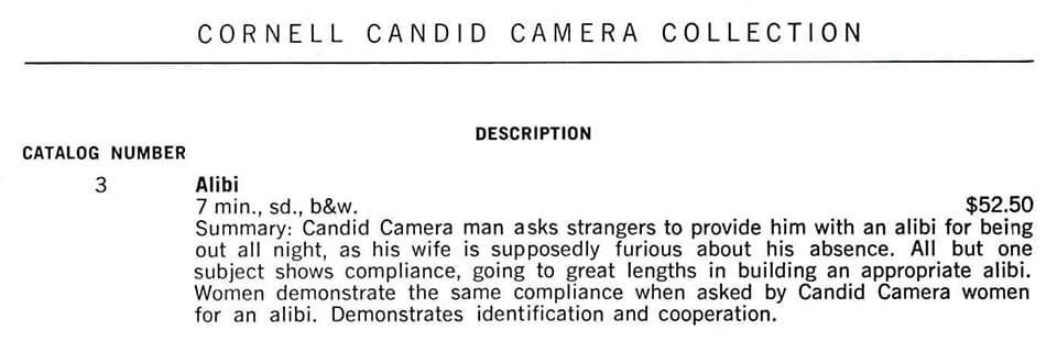 Episode description from Candid Camera