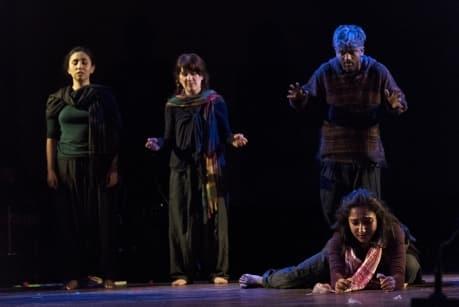"Debaroti Chakraborty, front, performs in ""Root Map,"" with Alejandra Rodriguez, Rosalie Purvis and Debasish Sen Sharma."